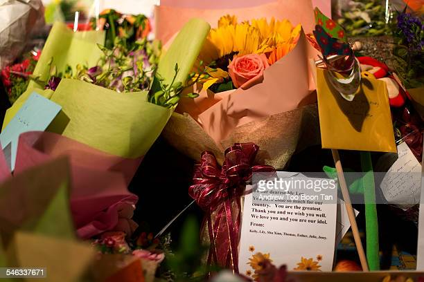 Wellwishers leave flowers cards balloons and gifts at Singapore General Hospital where former Prime Minister and founding father of modern Singapore...