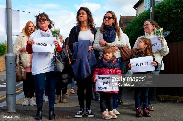 Wellwishers march in memory of slain French aupair Sophie Lionnet including French aupair Victoria Patillas Navas and cousin of the victim Melanie...