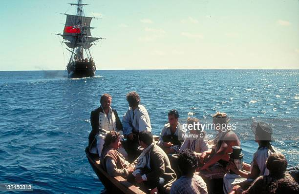 Welsh actor Anthony Hopkins as Captain Bligh being cast adrift following the mutiny in a scene from the film 'The Bounty' 1984 Actors Daniel DayLewis...