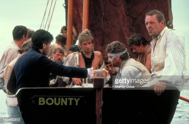 Welsh actor Anthony Hopkins as Captain Bligh in a scene from the film 'The Bounty' 1984 Amongst the crew are actors Daniel DayLewis Pete LeeWilson...