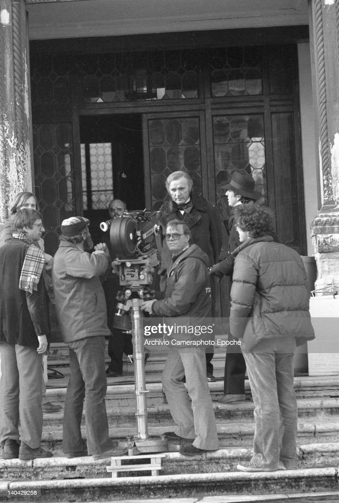 Welsh actor <a gi-track='captionPersonalityLinkClicked' href=/galleries/search?phrase=Richard+Burton&family=editorial&specificpeople=175918 ng-click='$event.stopPropagation()'>Richard Burton</a> standing on some stairs on the set of the movie Wagner, Venice, 1974.