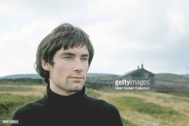 Welsh actor Timothy Dalton in a remote rural location circa 1975