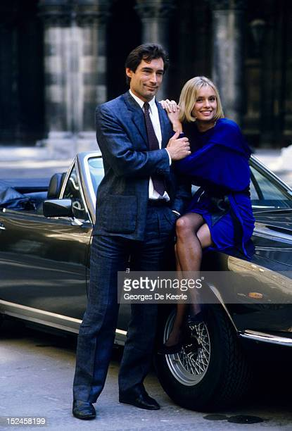 Welsh actor Timothy Dalton with his costar Maryam D'Abo during production of the James Bond film 'The Living Daylights' on location in Austria on...