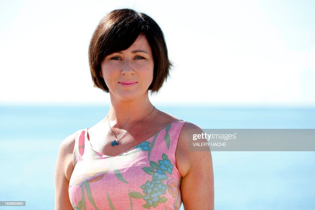 Welsh actress Mali Harries poses during a photocall for the TV show 'Hinterland' as part of the MIPCOM audiovisual trade fair on October 8, 2013 in Cannes, southeastern France.