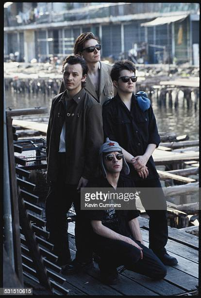 Welsh alternative rock group the Manic Street Preachers in Bangkok Thailand 27th April 1994 Clockwise from left singer James Dean Bradfield bassist...