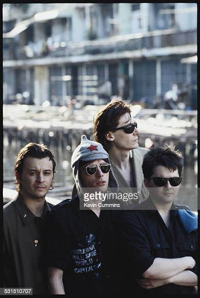 Welsh alternative rock group the Manic Street Preachers in Bangkok Thailand 27th April 1994 Left to right singer James Dean Bradfield guitarist...