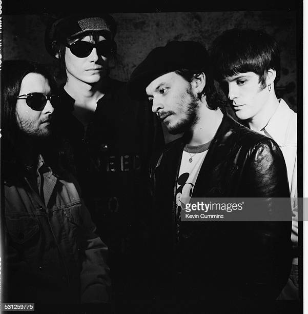 Welsh alternative rock group the Manic Street Preachers London 2nd June 1993 Left to right drummer Sean Moore bassist Nicky Wire singer James Dean...