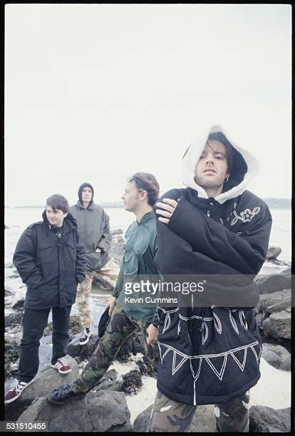 Welsh alternative rock group the Manic Street Preachers on the beach at Swansea south Wales 19th August 1994 Left to right drummer Sean Moore bassist...