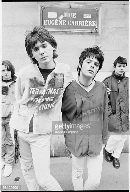 Welsh alternative rock group the Manic Street Preachers Paris 2nd March 1991 Left to right drummer Sean Moore bassist Nicky Wire guitarist Richey...