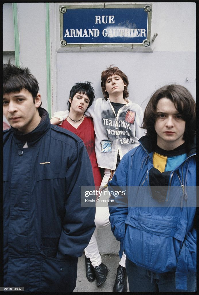 Welsh alternative rock group the Manic Street Preachers, Paris, 2nd March 1991. Left to right: singer James Dean Bradfield, guitarist Richey James Edwards, bassist Nicky Wire and drummer Sean Moore.