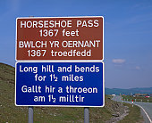 Welsh and English Language road sign, Snowdonia, Wales