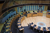 Welsh Assembly debating chamber, Wales, UK