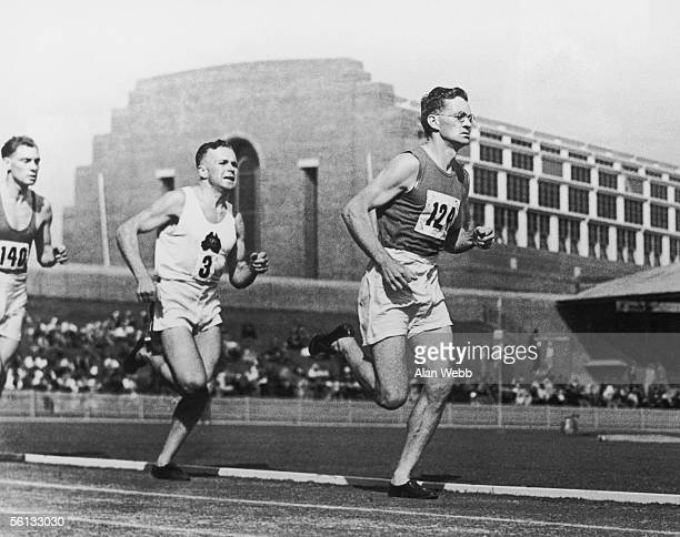 Welsh athlete Jim Alford wins the first heat of the mile race at the British Empire Games in Sydney 24th February 1938 He is seen here in third place...
