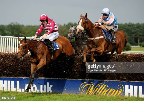 Welsh Bard ridden by Wilson Renwick jumps the last fence to go onto win The betfredcom Novices Handicap Steeple Chase ahead of Dreamsoftheatre ridden...