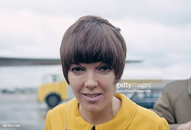 Welsh born fashion designer Mary Quant pictured at an airport in London in 1967