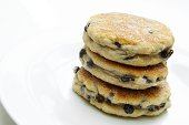 welsh cakes in stack on white background