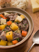 Welsh Cawl in a Casserole Pot in Kitchen