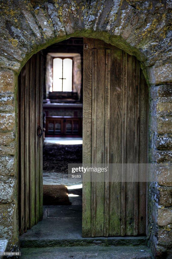 Welsh Country Church Interior Open Doorway Stock Photo