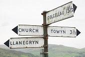 Welsh Direction Signpost; Wales; UK