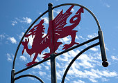 Welsh Dragon Sign, Millennium Coastal Path, Llanelli, South Wales near Loughor Estuary, Burry Port and Pwll.
