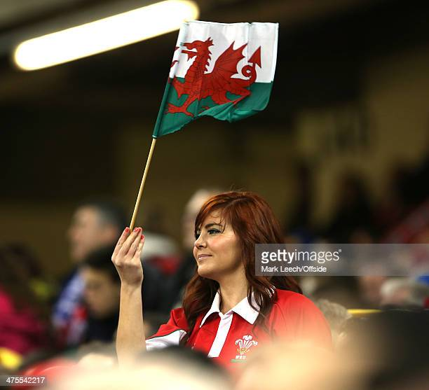 Welsh fan waves her flag during the RBS Six Nations match between Wales and France at the Millennium Stadium on February 21 2014 in Cardiff Wales