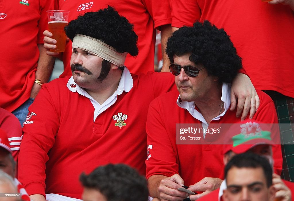 Welsh fans enjoy the atmosphere prior to kickoff during the Rugby World Cup 2007 Pool B match between Wales and Canada at the Stade de la Beaujoire...