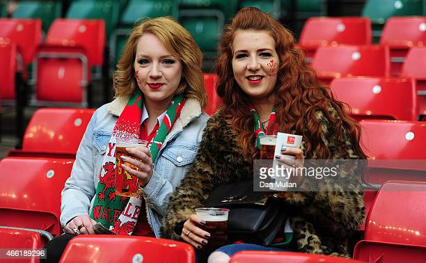 Welsh fans take their seats prior to the RBS Six Nations match between Wales and Ireland at Millenium Stadium on March 14 2015 in Cardiff Wales