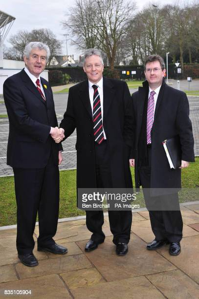 Welsh First Minister Rhodri Morgan greets Northern Ireland First Minister Peter Robinson and Northern Ireland Minister Jeffrey Donaldson at the...