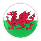 Welsh Flag Button - Flag of Wales Badge 3D Illustration