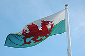 Welsh flag featuring a red dragon.