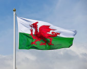 The welsh flag, a red dragon on a green and white background, flutters in the wind against a blue sky.