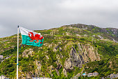 Welsh flag flying over Barmouth Wales UK