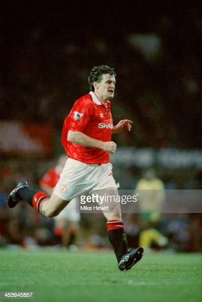 Welsh footballer Mark Hughes playing for Manchester United in an English Premier League match against Norwich City at Old Trafford Manchester 12th...