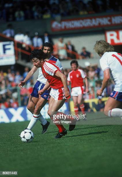 Welsh footballer Mickey Thomas on the ball during a Wales V England friendly international at Wrexham 17th May 1980 Wales won the match 41