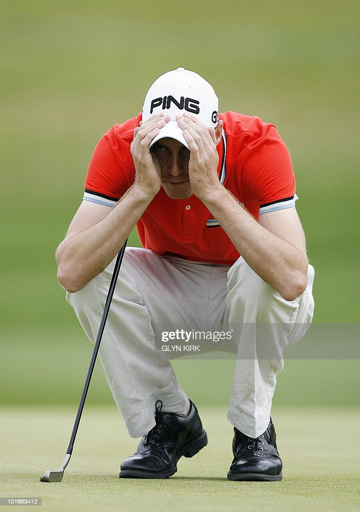 Welsh golfer Rhys Davies lines up his putt on the 16th green during the final round of the Celtic Manor Wales Open on The Twenty Ten Course in Newport, Wales on June 6, 2010.