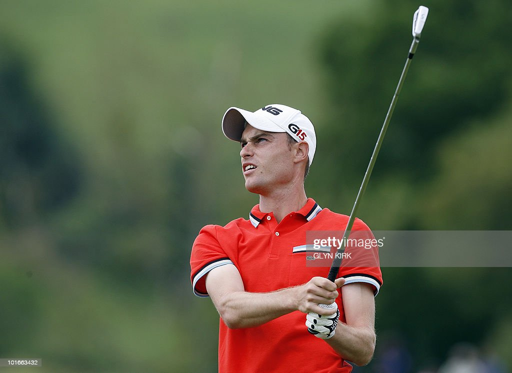 Welsh golfer Rhys Davies watches his drive from the 13th tee during the final round of the Celtic Manor Wales Open on The Twenty Ten Course in Newport, Wales on June 6, 2010.