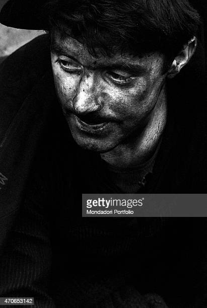 'A Welsh man with his face filthy with mud after the landslide that devastated the welsh village of Aberfan on the 21st October Aberfan October 23rd...