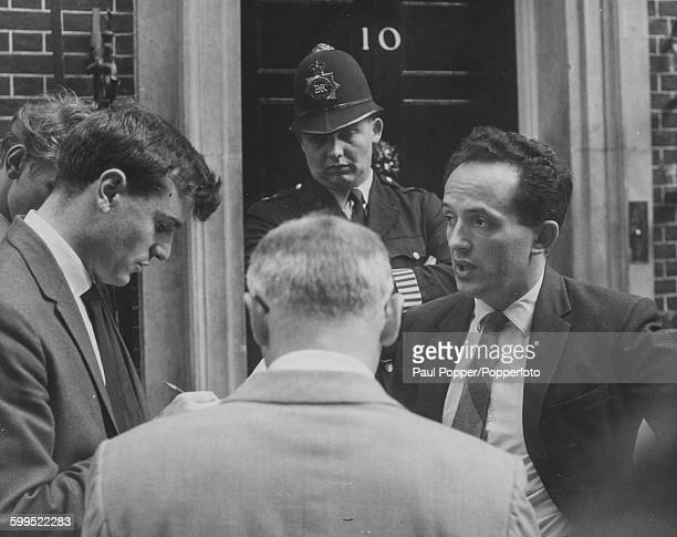 Welsh Plaid Cymru politician Emrys Roberts speaks to the press outside 10 Downing Street to protest against a ban on political broadcasts on behalf...