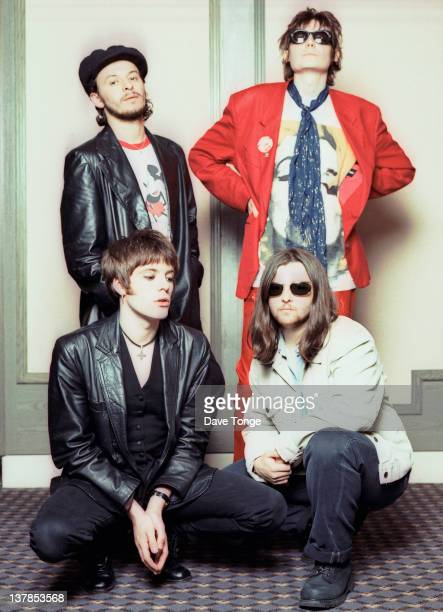 Welsh rock group Manic Street Preachers London 1993 Clockwise from top left James Dean Bradfield Nicky Wire Sean Moore and Richey Edwards