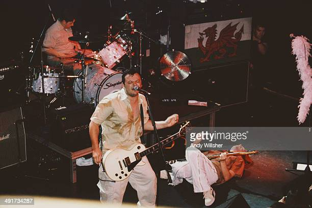 Welsh rock group Manic Street Preachers performing opn stage 1999 Left to right Sean Moore James Dean Bradfield and Nicky Wire