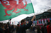 Welsh rugby fan flies a flag as he walks to Twickenham Stadium on October 17 2015 in Twickenham London England Fans are gearing up ahead of the Rugby...