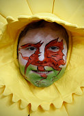 A Welsh rugby fan poses for a photograph ahead of the Six Nations international rugby union match between Wales and Scotland at the Millennium...
