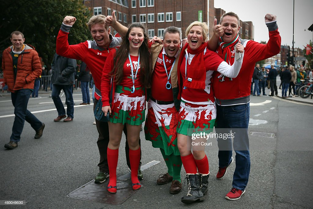 Welsh rugby fans pose for a photograph on October 17 2015 in Twickenham London England Fans are gearing up ahead of the Rugby World Cup quarter final...