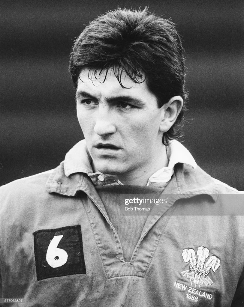 Welsh Rugby Union player and scrumhalf for Wales and Swansea Robert Jones pictured on the pitch circa 1988