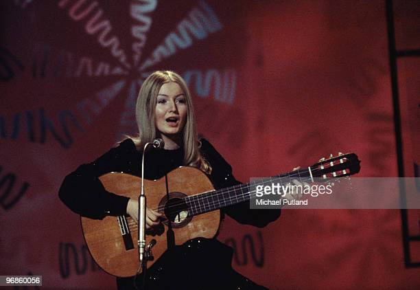 Welsh singer Mary Hopkin performing in the UK circa 1968