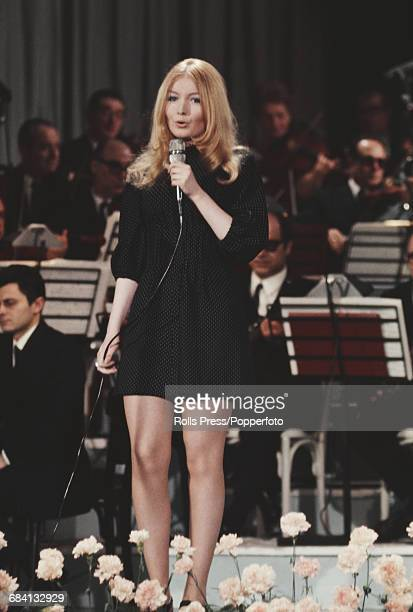 Welsh singer Mary Hopkin performs live on stage at the Sanremo Music Festival in Sanremo Casino Italy in January 1969