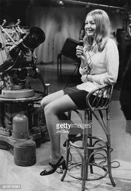Welsh singer Mary Hopkin rehearses for her appearance on the Thames Television show 'Magpie' circa 1968