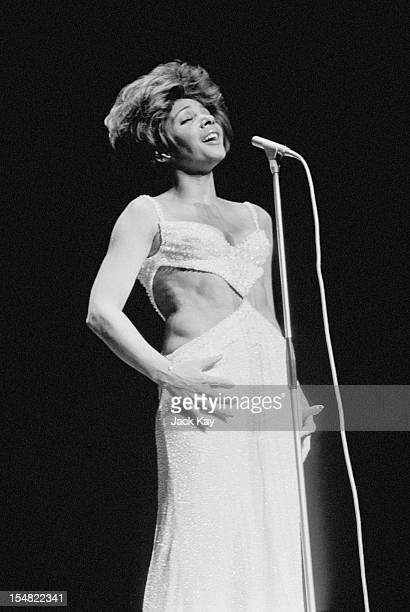Welsh singer Shirley Bassey singing at the Royal Variety Performance at the London Palladium 15th November 1971
