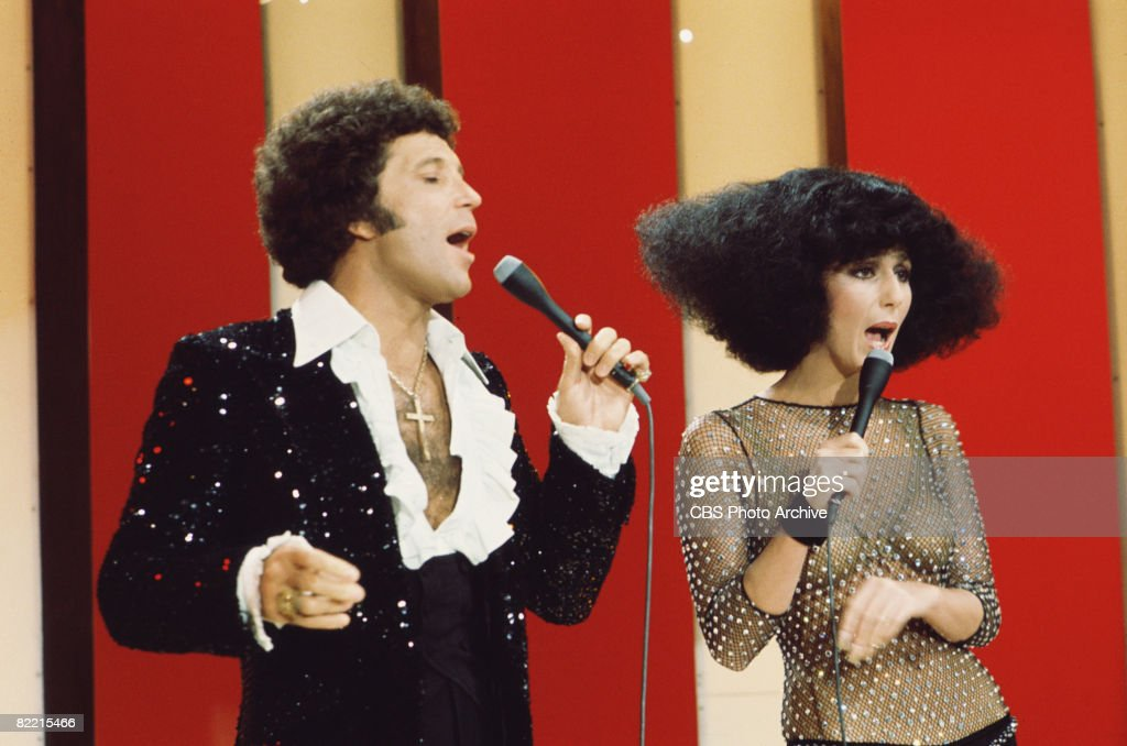 Welsh singer Tom Jones and American singer and actress Cher perform a suet on an episode of 'The Sonny Cher Show' October 28 1976 Jones wears a...