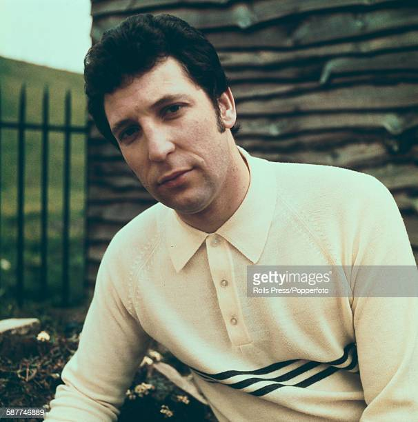 Welsh singer Tom Jones posed wearing a button up wool top in 1967
